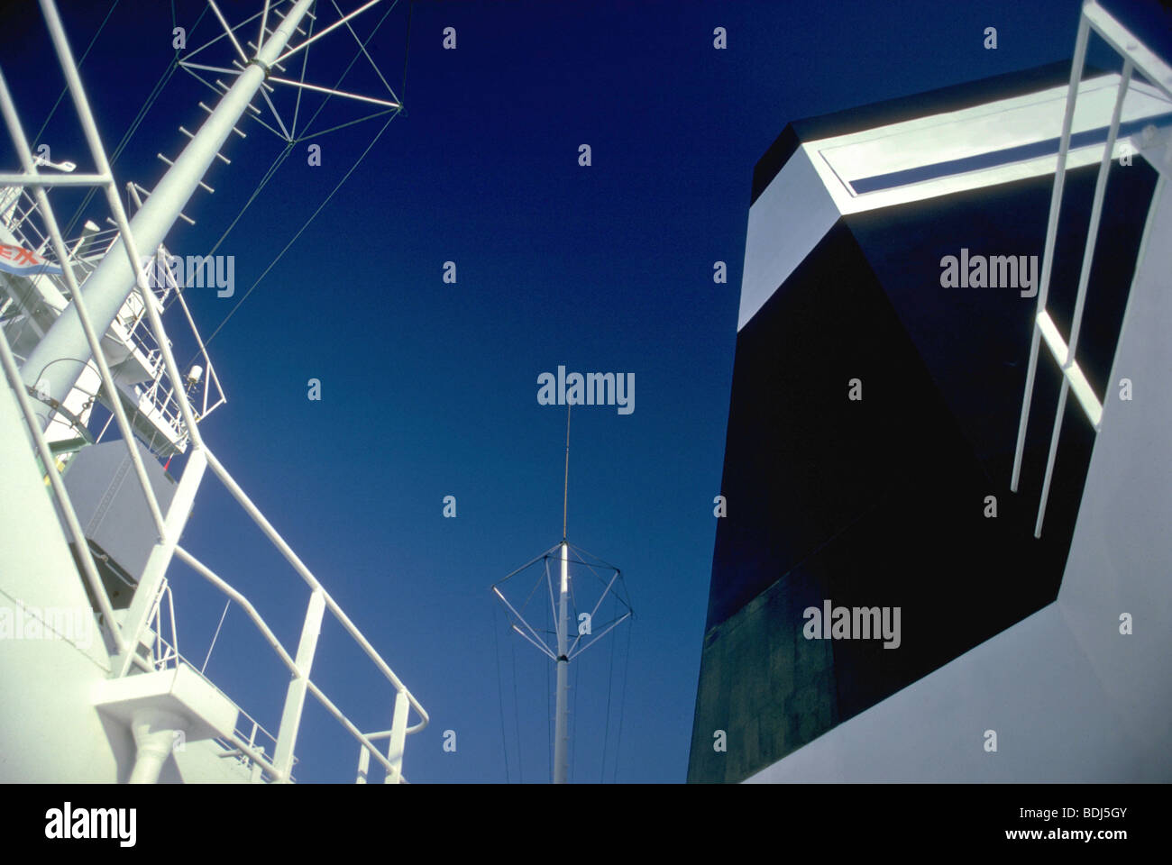 Abstract view of oil tanker bridge - Stock Image