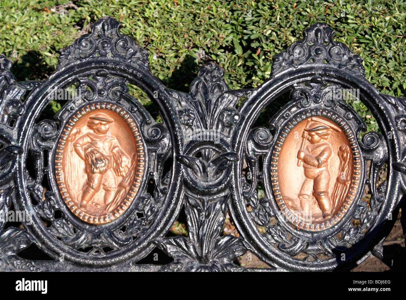 Detail of ornate wrought iron park bench in the Plaza de Armas, San Luis Potosi, Mexico Stock Photo