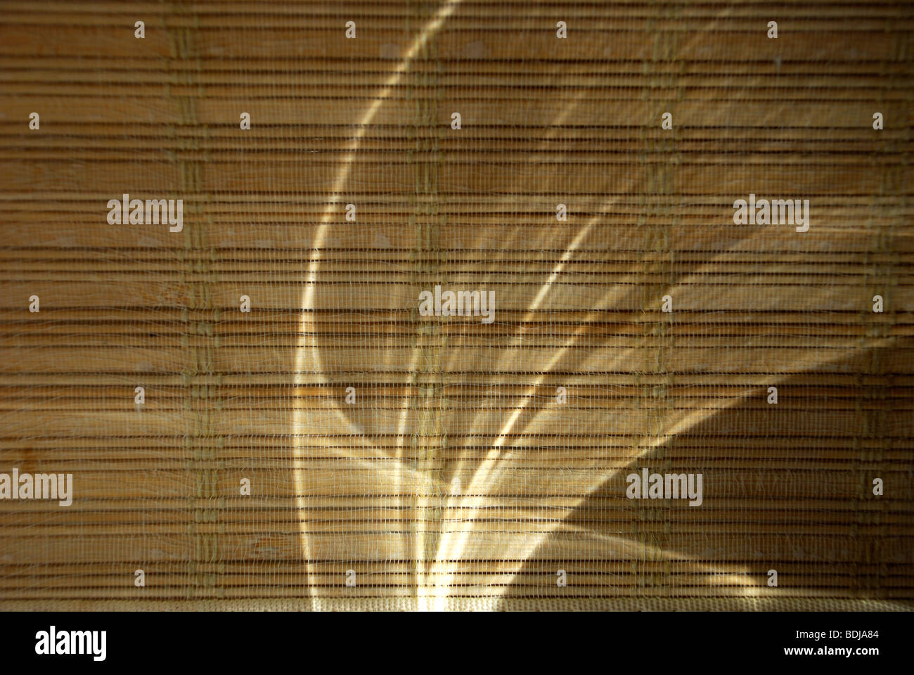 Light reflecting on bamboo shade - Stock Image