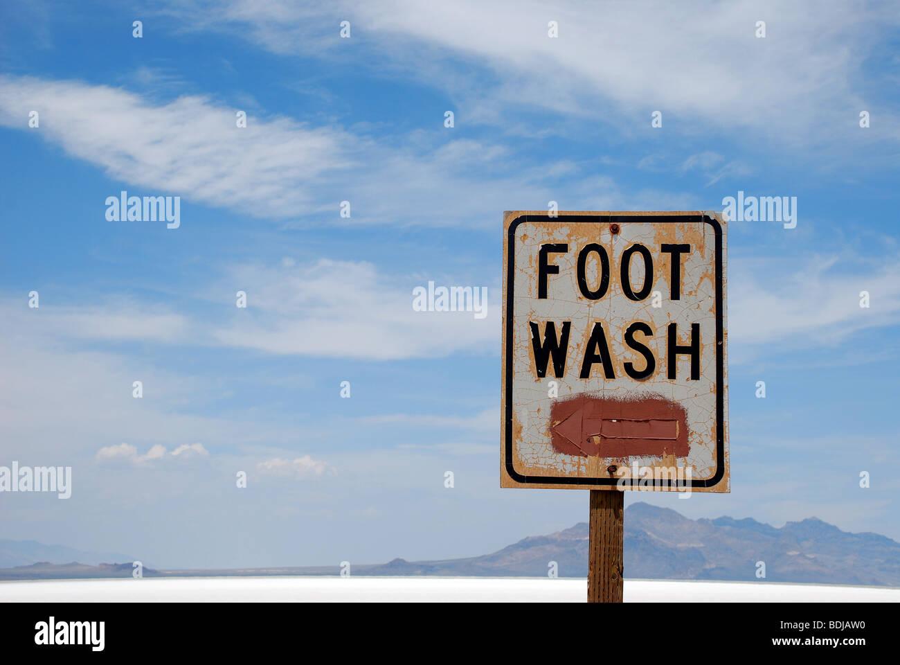 Foot Wash sign at the Bonneville Salt Flats, Utah, USA - Stock Image