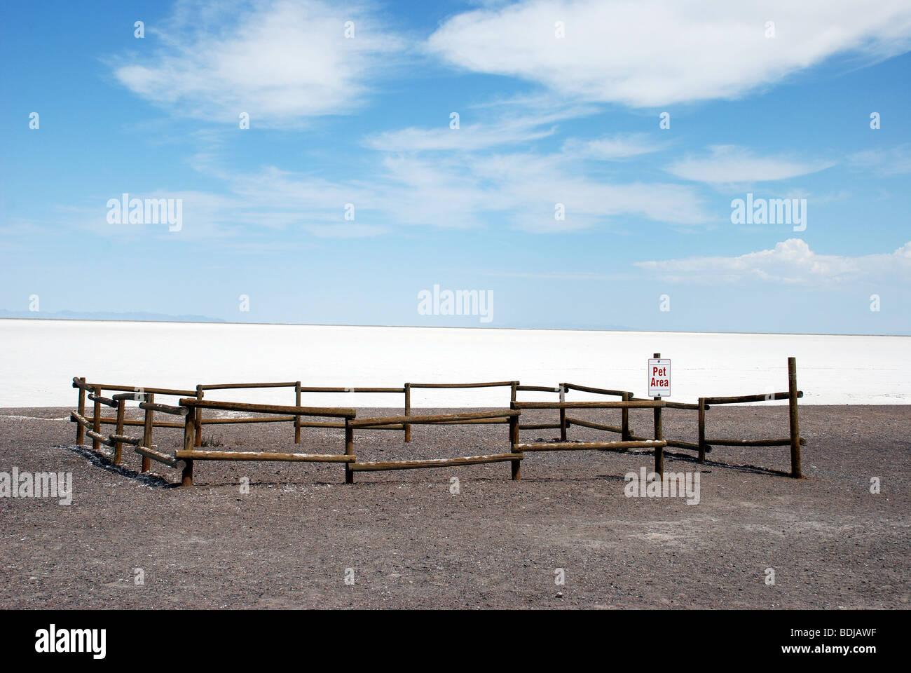 Fenced off Pet Area at the Bonneville Salt Flats in Utah, USA. - Stock Image