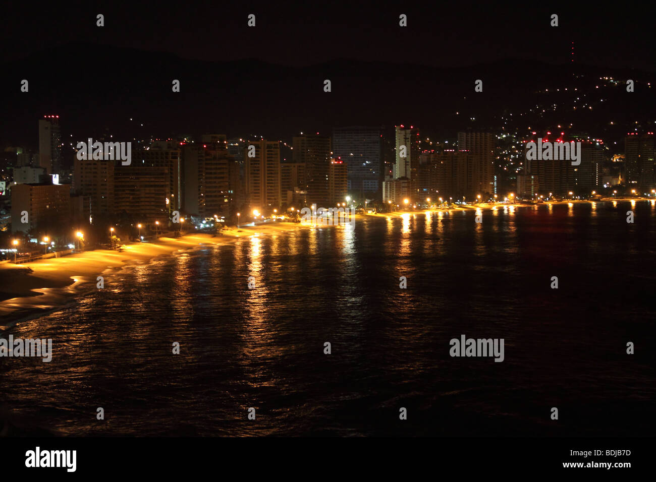 night view of acapulco bech in guerrero state, mexico Stock Photo