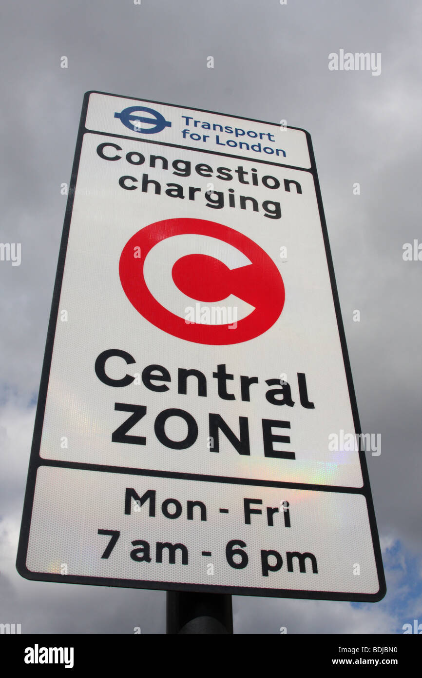 A Transport for London congestion charge sign in London, England, U.K. - Stock Image