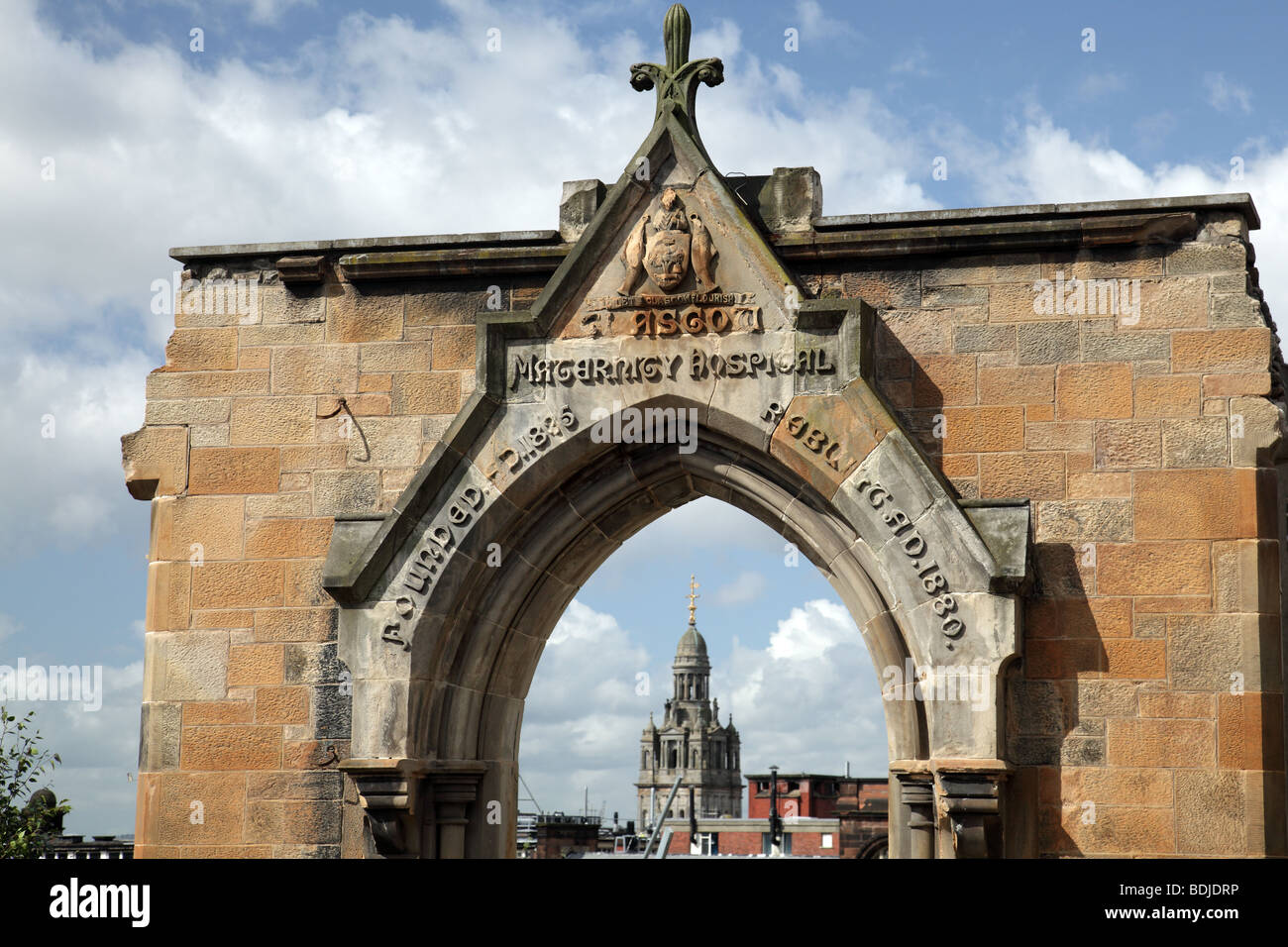 Dome of the City Chambers viewed through the Rottenrow Arch in Glasgow, Scotland, UK Stock Photo