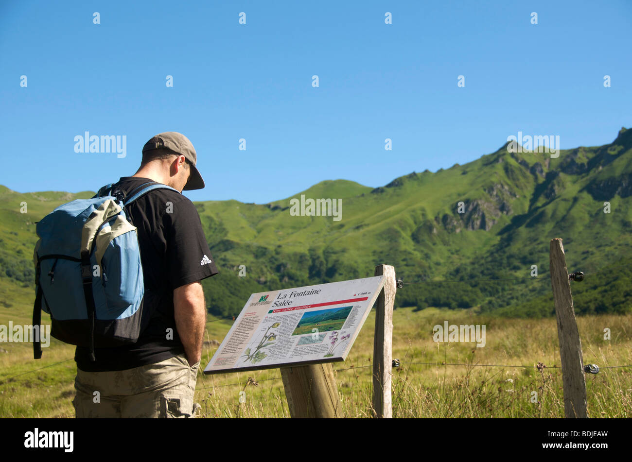 Walkers in the massif of the Sancy. Auvergne. France. - Stock Image