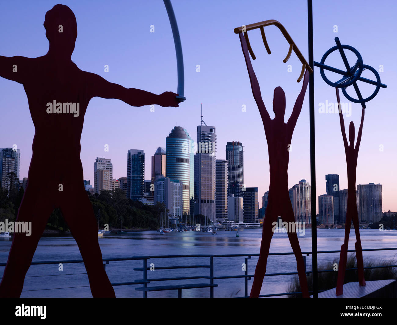 Brisbane city Australia and urban sculptures - Stock Image
