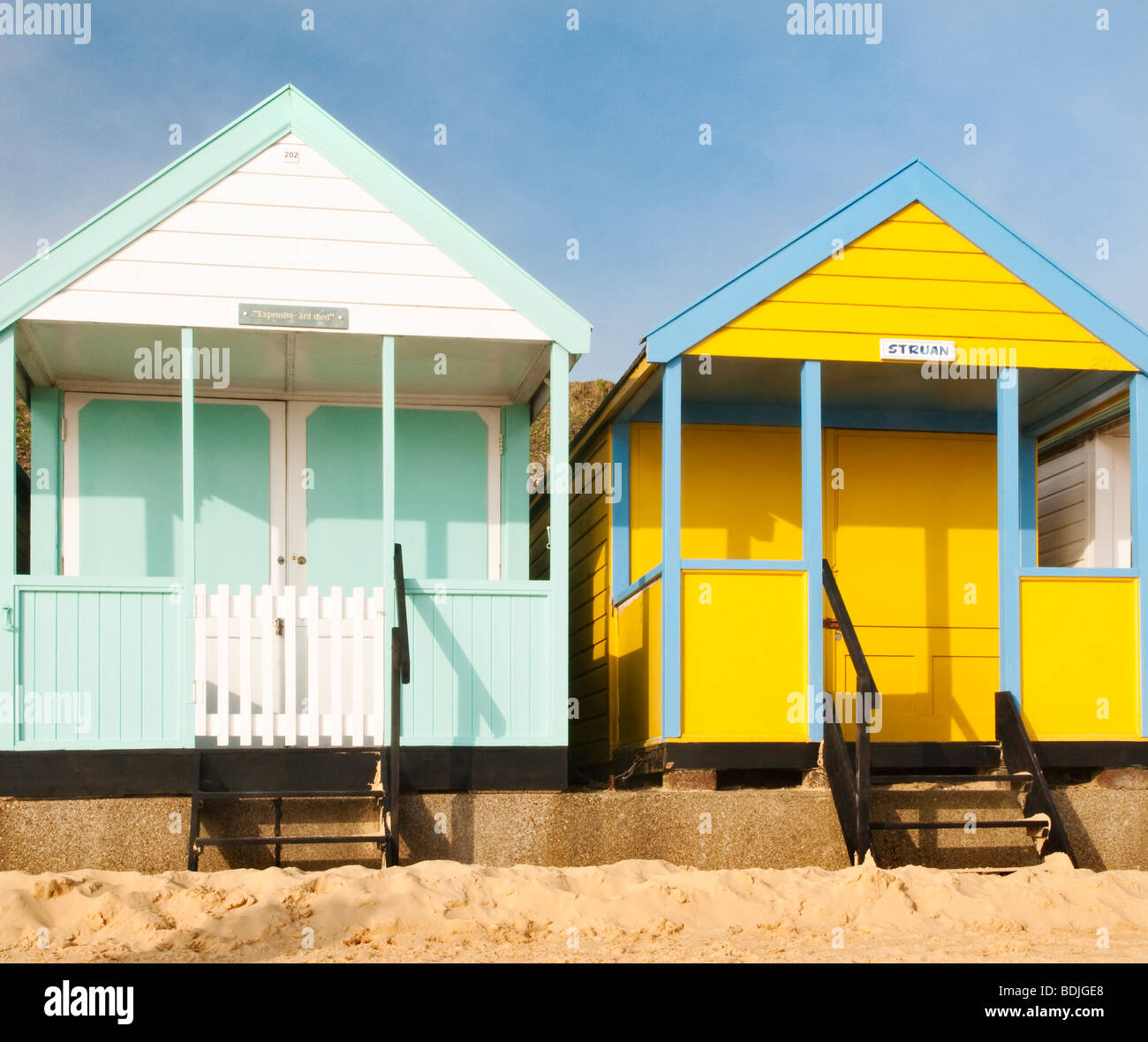 Beach huts in Southwold, Suffolk, UK - Stock Image