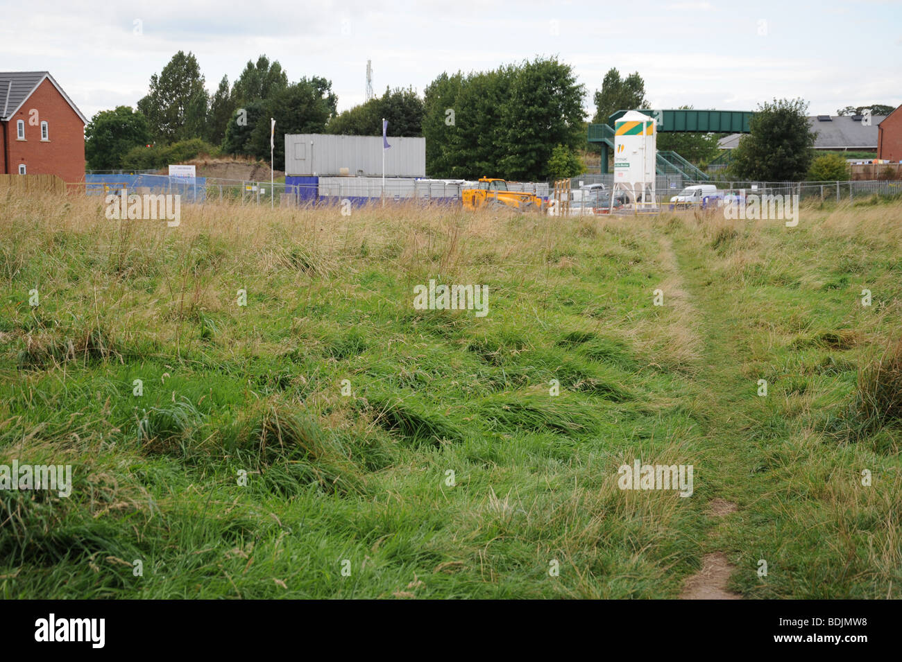 Building on Green land - Stock Image