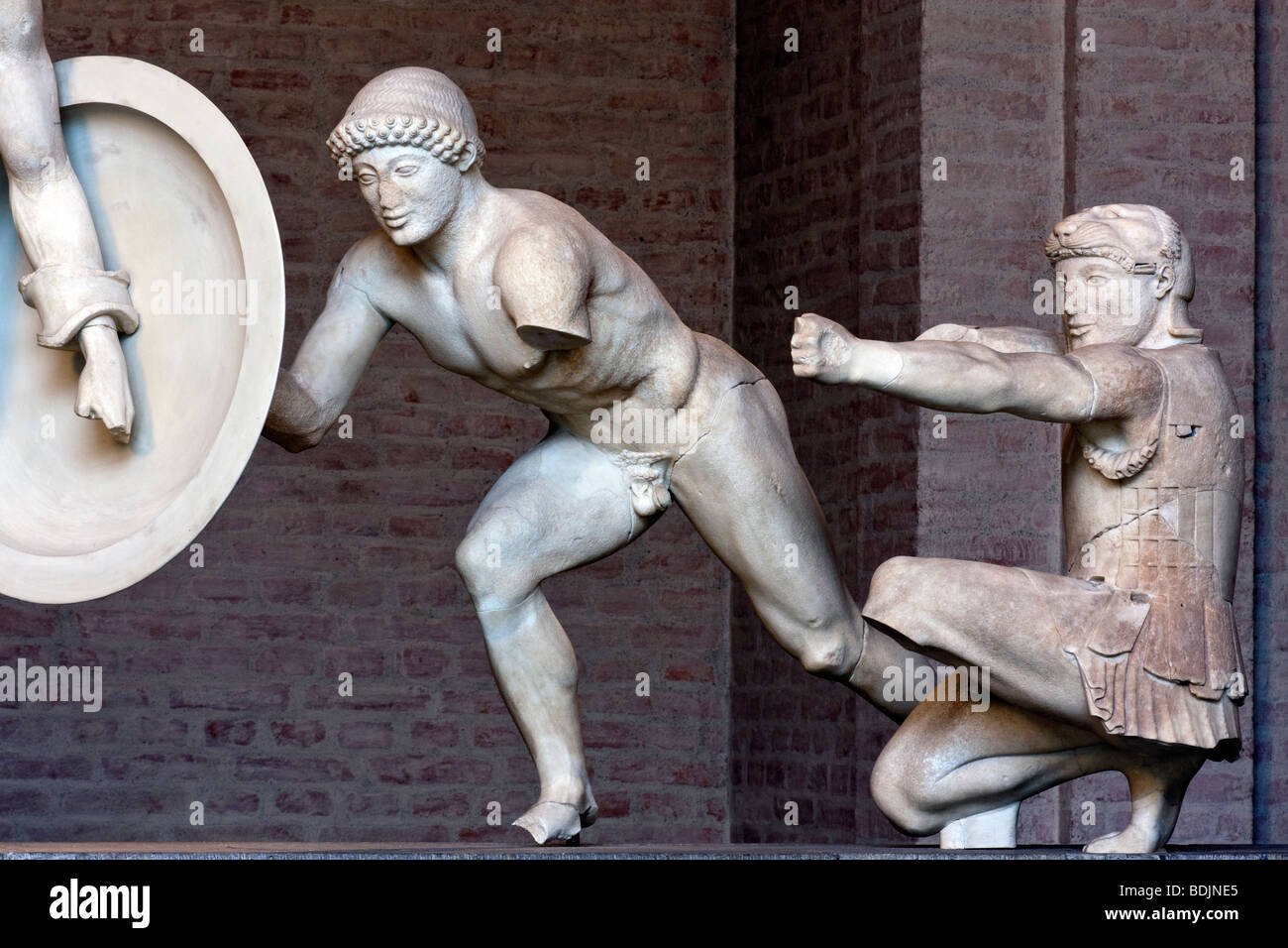 A warrior and the Herakles from the east pediment of the Temple of Aphaia at Aegina, ca. 480 BC. - Stock Image