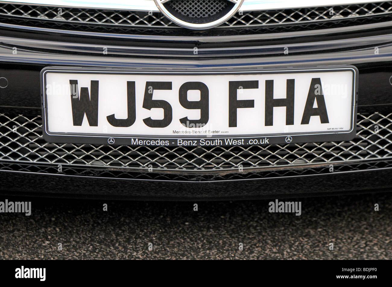 Latest UK Car Registration number plates issued in September 2009 in Devon - Stock Image