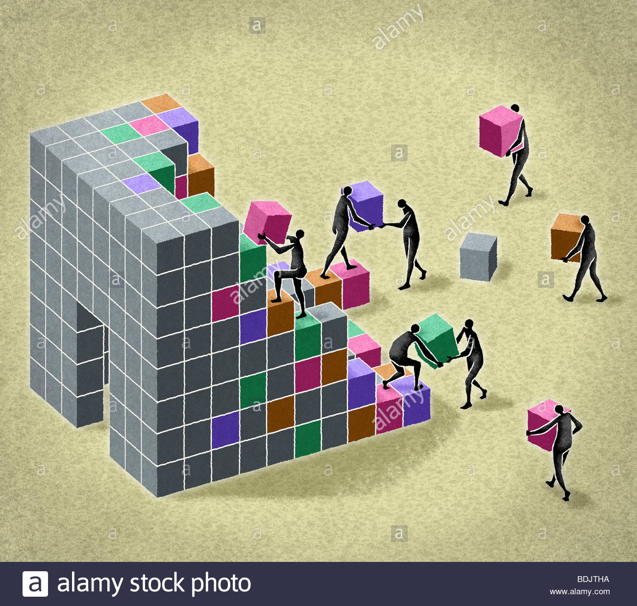 Business people building structure with blocks - Stock Image