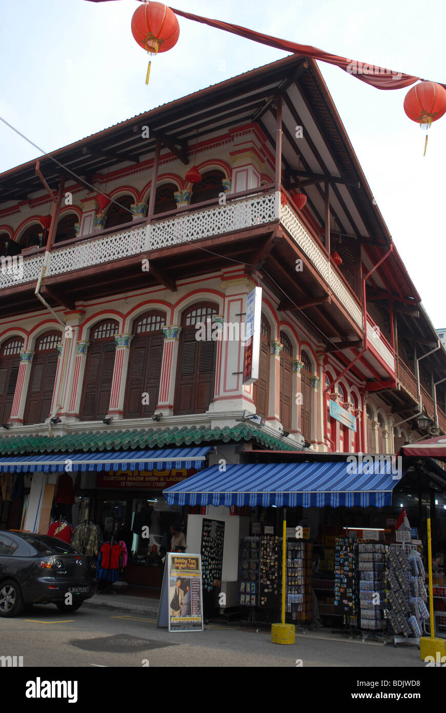 restored building on the corner of Temple Street and Trengannu Street, Chinatown, Singapore - Stock Image