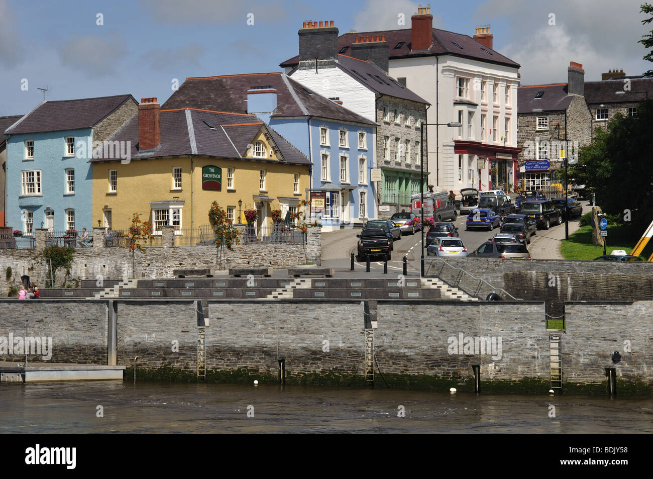 Grosvernor pub and hill, Cardigan town, Wales Stock Photo