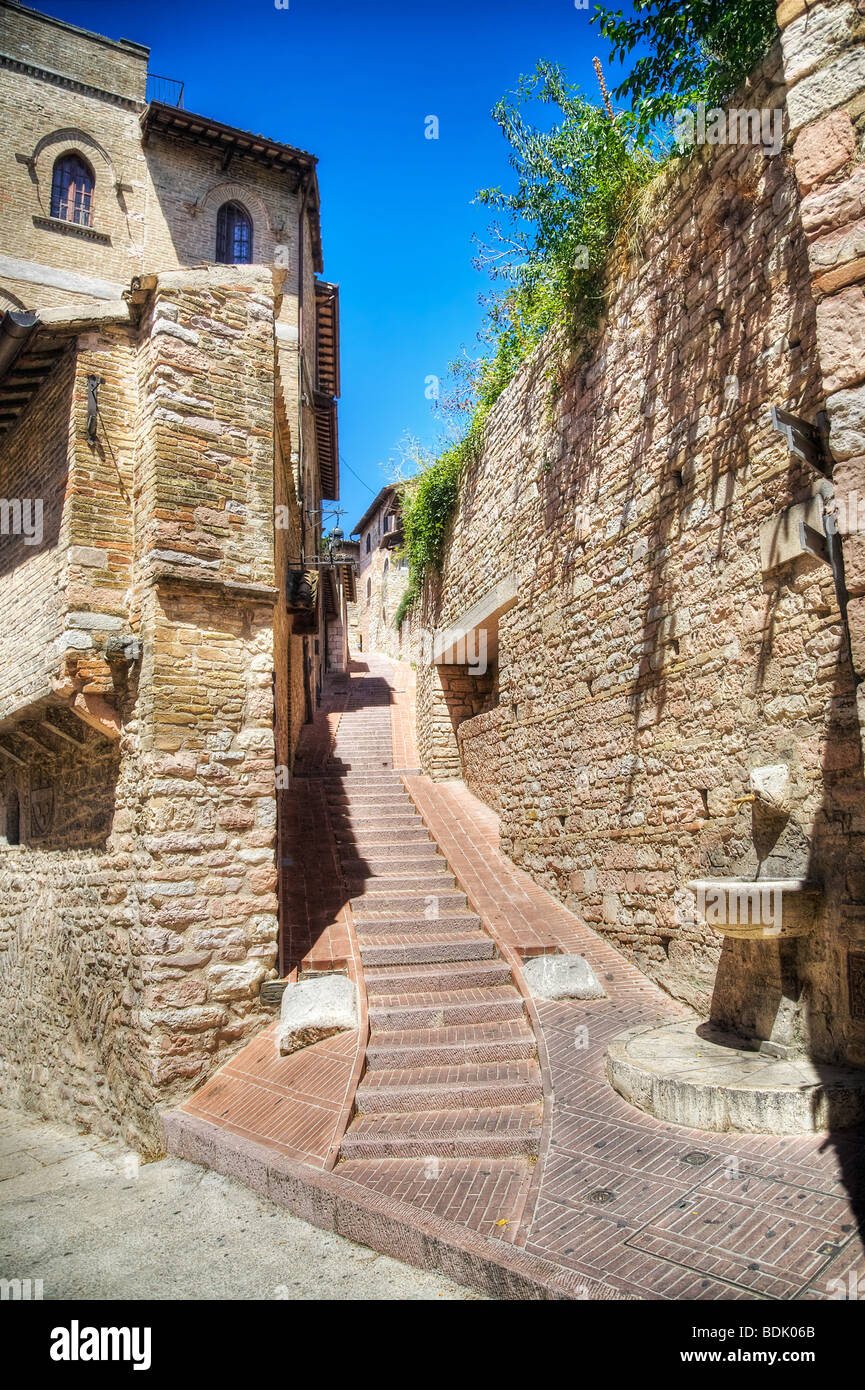 Common Italian street of old city. HDR image. - Stock Image
