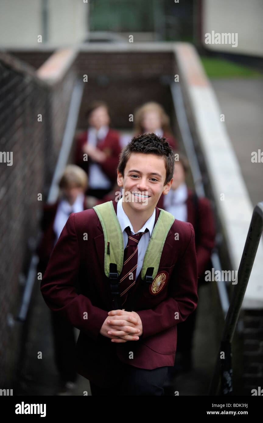 OLYMPIC DIVER TOM DALEY IN FEBUARY 2008 AGED THIRTEEN WITH SCHOOLFRIENDS IN PLYMOUTH - Stock Image