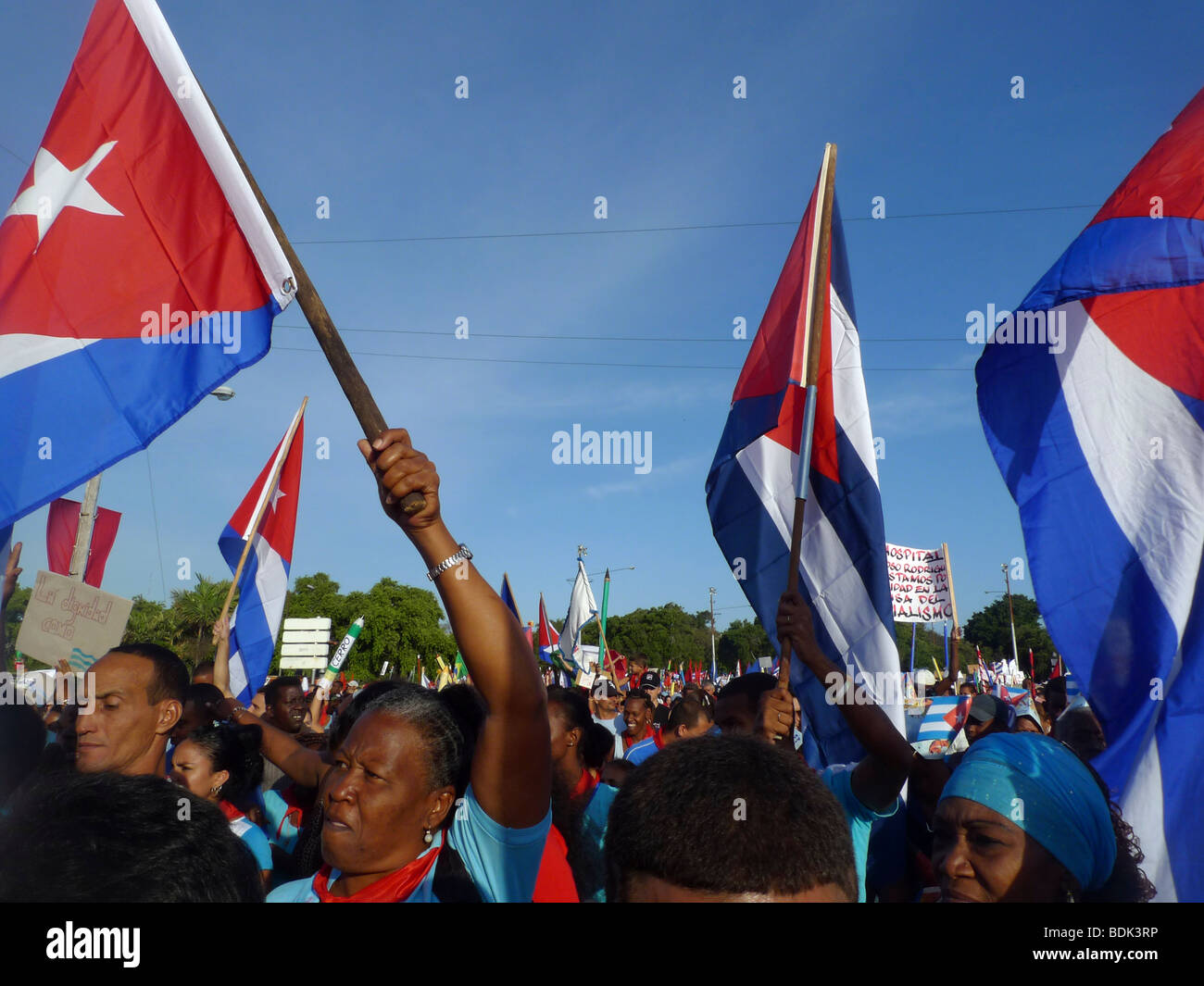 International Workers' Day March, Havana, Cuba. 1 May 2009 - Stock Image