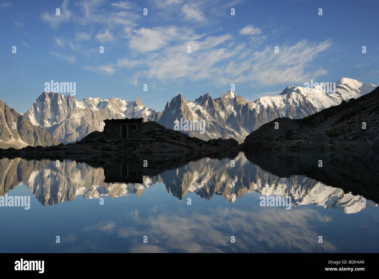 Aiguilles de Chamonix reflecting in Lac Blanc - Stock Image