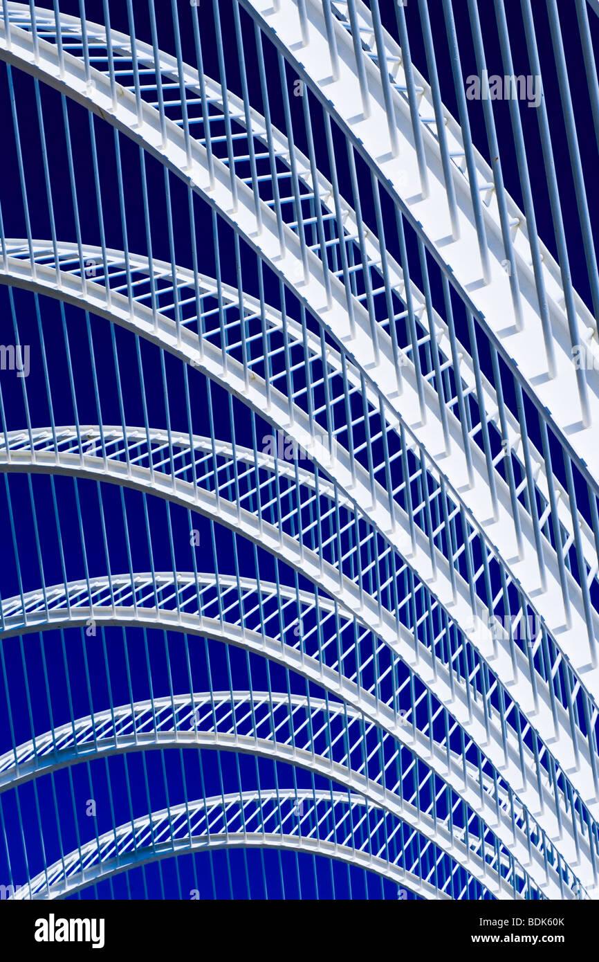 Ciudad de las Artes y las Ciecias , City of Arts & Sciences , Umbracle , botanical garden , detail structure - Stock Image