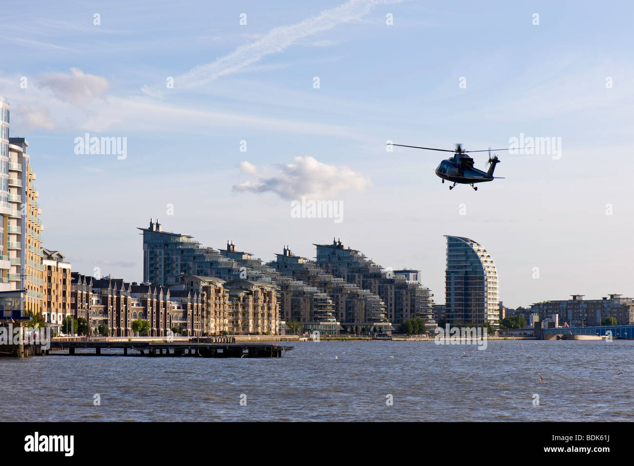 Helicopter taking off from London Heliport in Battersea, SW11, by Thames River, London, United Kingdom - Stock Image
