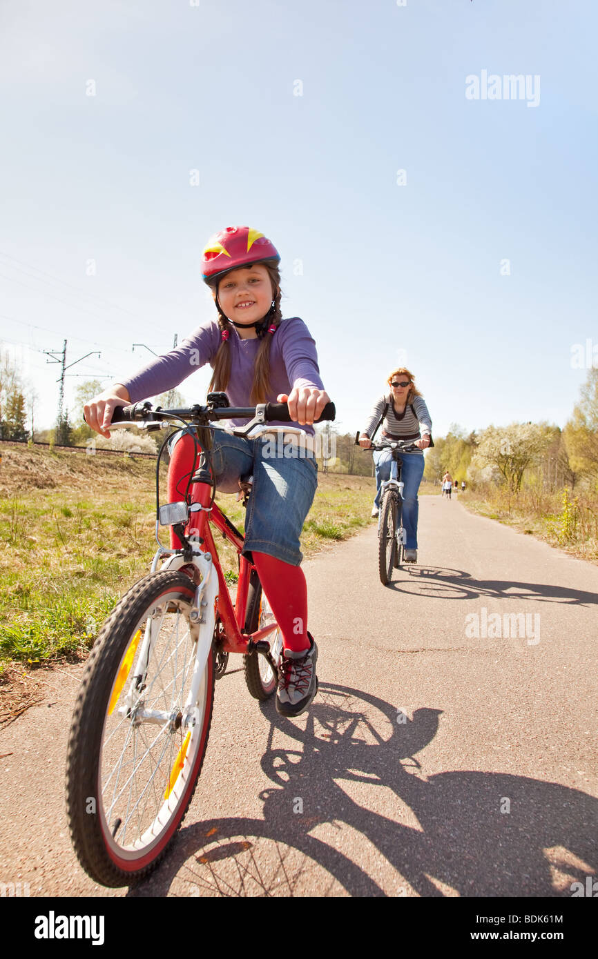 Family on bicycles Stock Photo