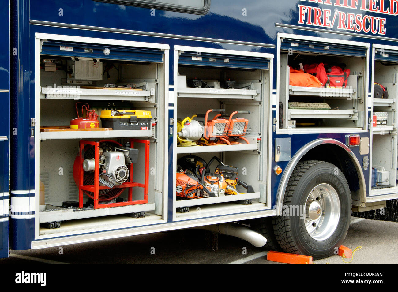 Fire department vehicle on display during a fire muster parade. Stock Photo