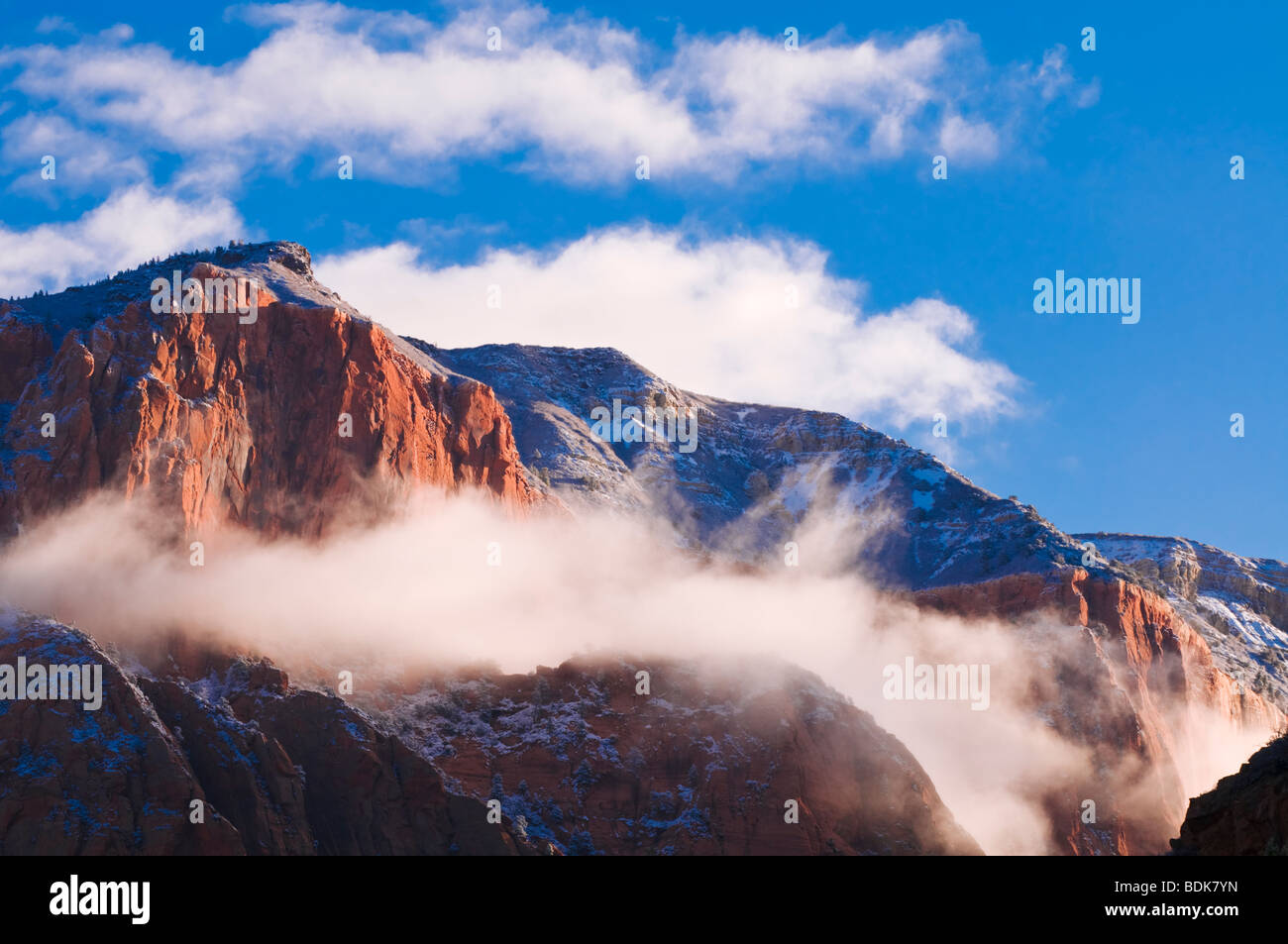 Fresh snow at dawn on the Kolob Canyons, Zion National Park, Utah Stock Photo