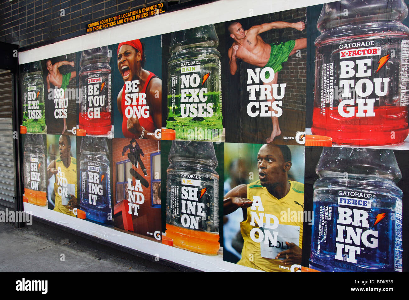 Gatorade billboard conveying strength and confidence. - Stock Image