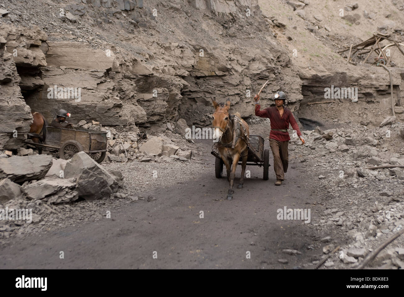 WUDA COAL FIELD, WU HAI, INNER MONGOLIA, CHINA - AUGUST 2007: Miners at an illegal private mine use mules to haul - Stock Image