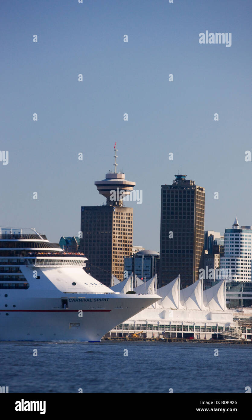 The Carnival Spirit cruise ship leaving downtown Vancouver from Coal Harbour, British Columbia, Canada. Stock Photo
