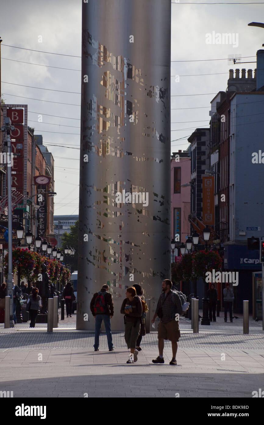 The Spire of Dublin, O'Connell Street, Dublin, Ireland - Stock Image