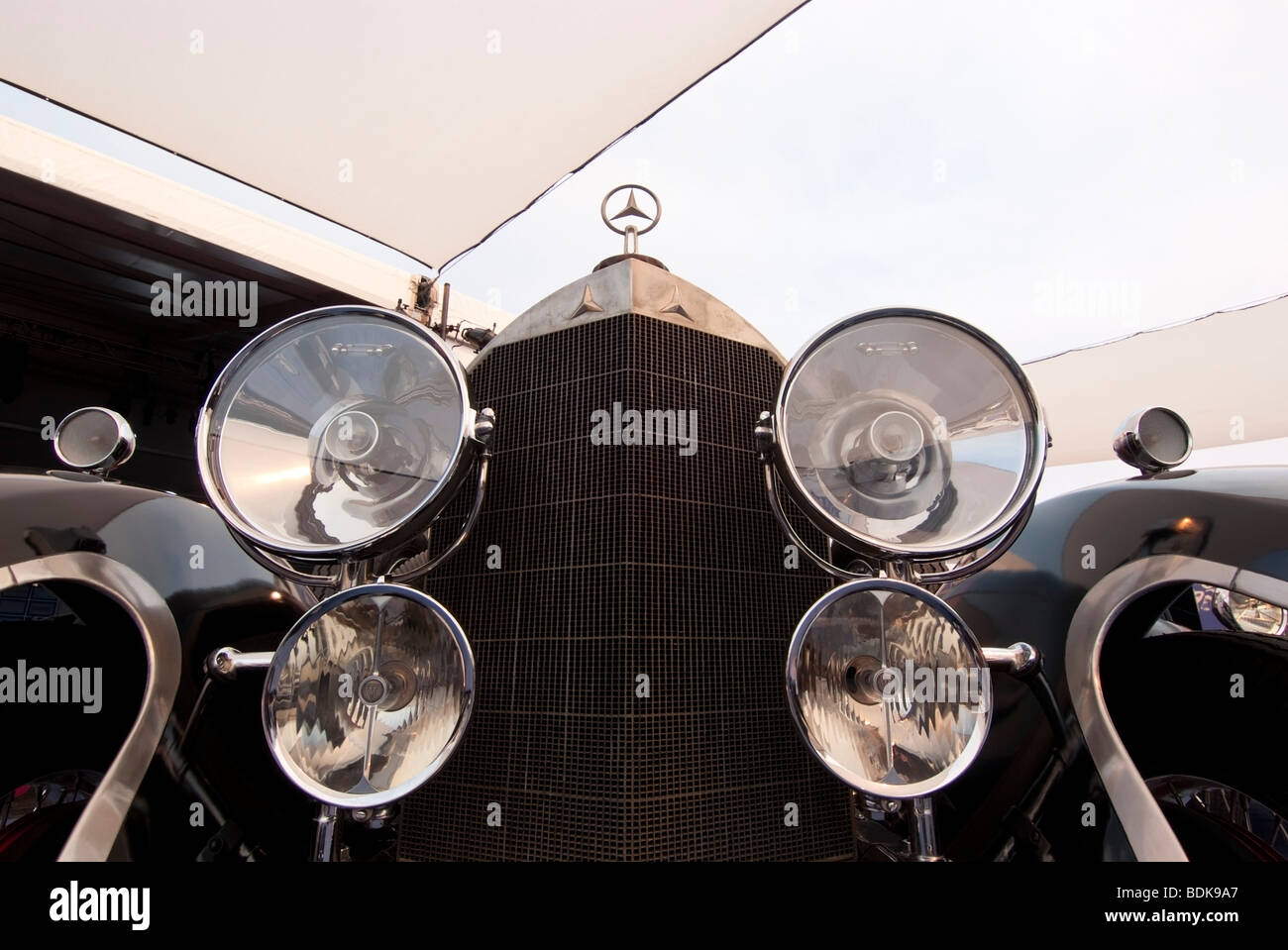 Grill of a 1927 Mercedes-Benz 630 Model K on display in the Gooding & Company tent at the 2009 Pebble Beach - Stock Image