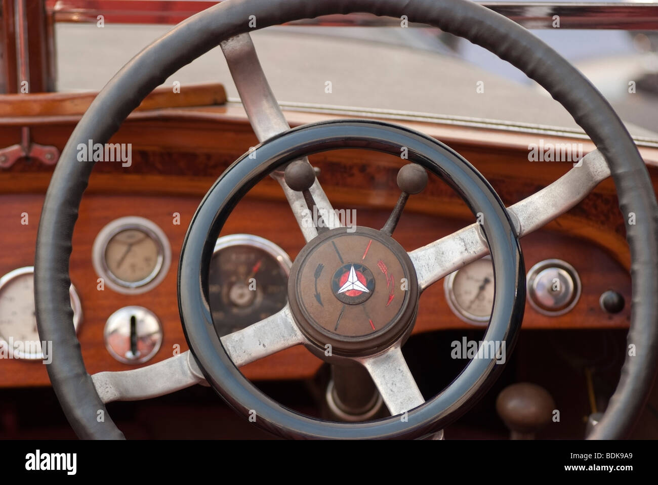 dashboard of a 1927 Mercedes-Benz 630 Model K in the Gooding & Company tent at the 2009 Pebble Beach Concours - Stock Image