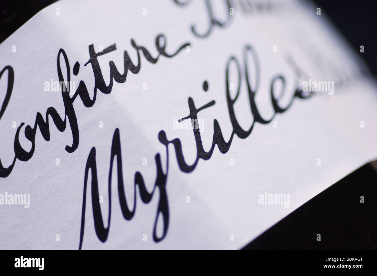 Bonne Maman Confiture Myrtilles Sauvage bottle label closeup - Stock Image
