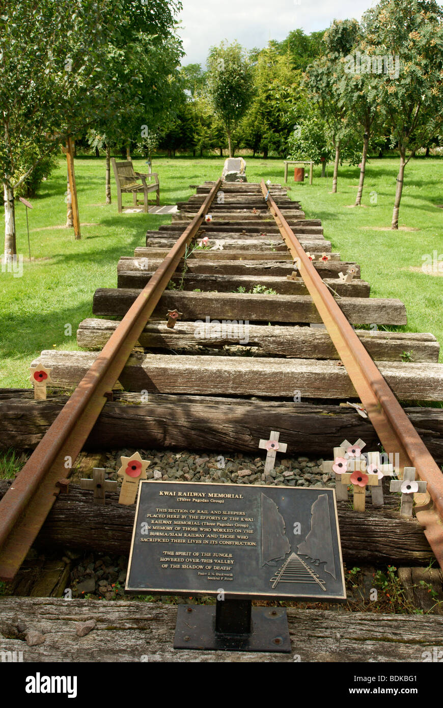 Section of the Burma Railway built by prisoners, the National Memorial Arboretum - Stock Image