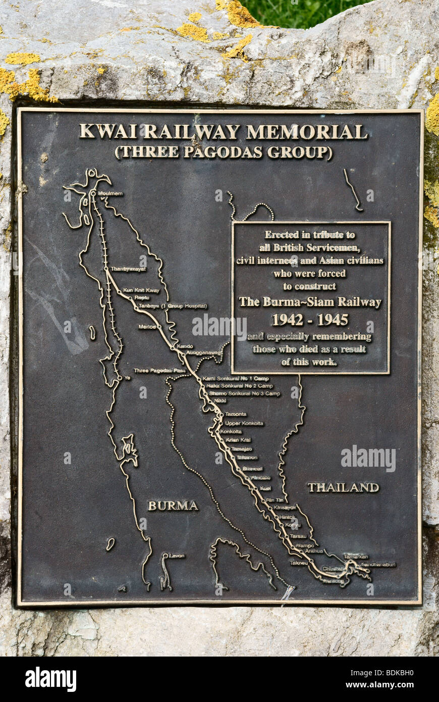 Plaque commemorating the Burma Railway built by prisoners, the National Memorial Arboretum - Stock Image