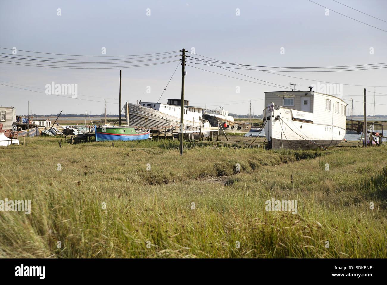 House boats at mersea island Stock Photo