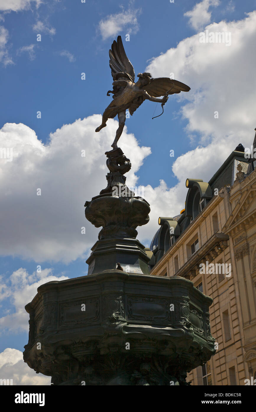 The statue of Eros in Piccadilly Circus, London - Stock Image