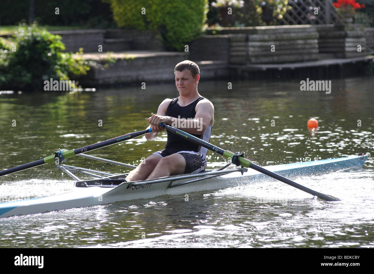 Rowing on River Avon at Warwick Regatta, Warwickshire, England, UK - Stock Image