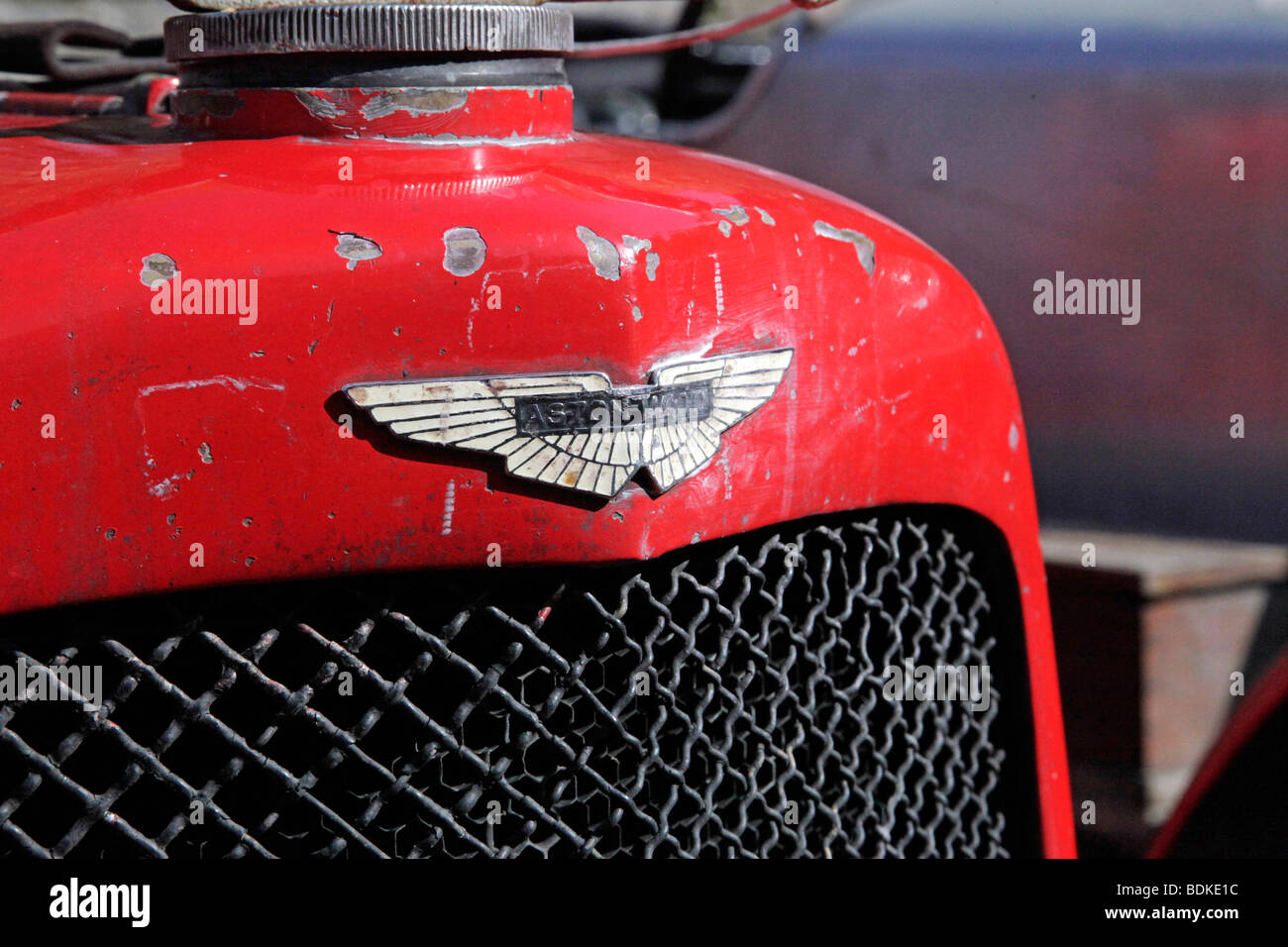 A Badge On A Vintage Aston Martin Ulster Race Car With Chipped Red Stock Photo Alamy