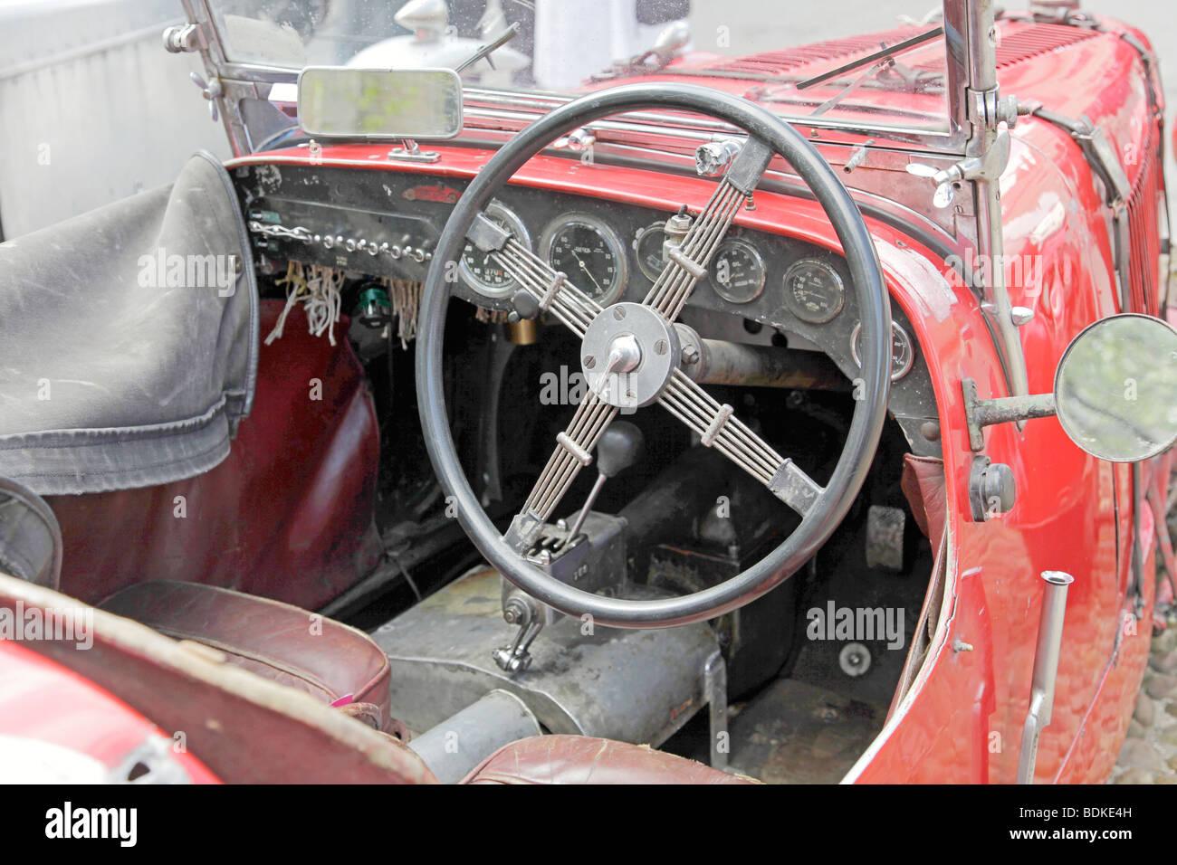 Interior Of An Unrestored Aston Martin Ulster Racing Car Stock Photo Alamy