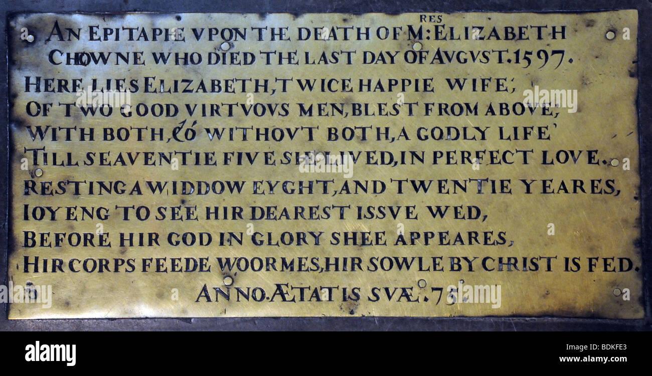 Amusing epitaphe in St Mary's Church Warwick England - Stock Image
