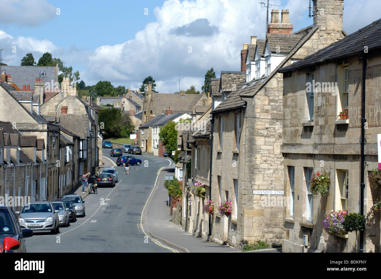 Market Town showing old and historic buildings - Stock Image