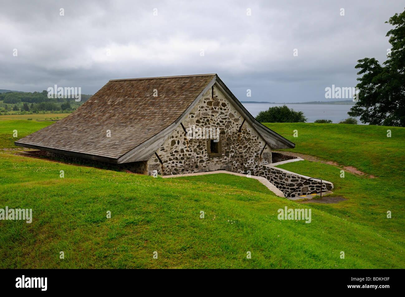 Sunken Powder Magazine bunker at Fort Anne National Historic Site Nova Scotia - Stock Image