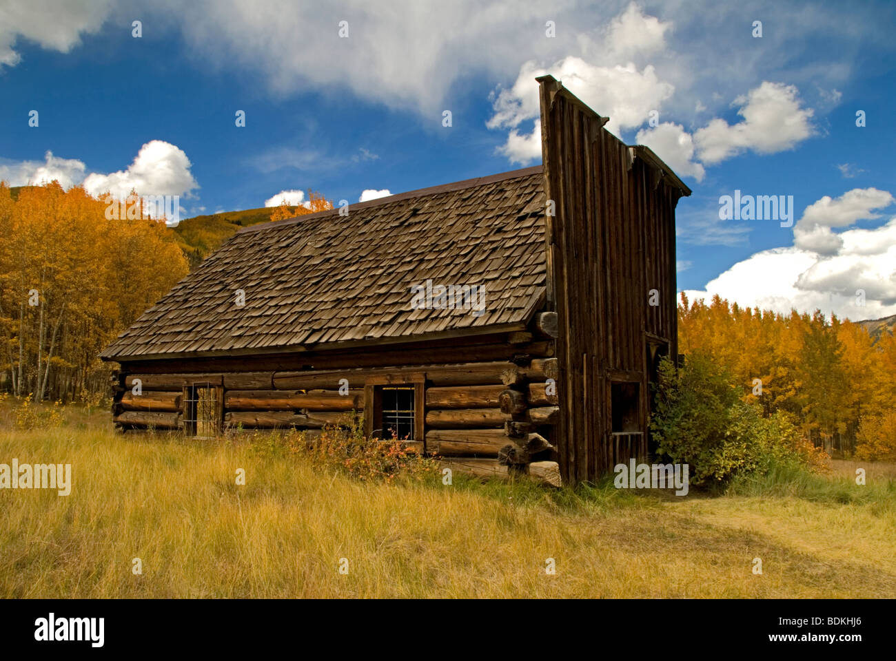 Old cabin structure in autumn, Ashcroft ghost town, Colorado US. - Stock Image