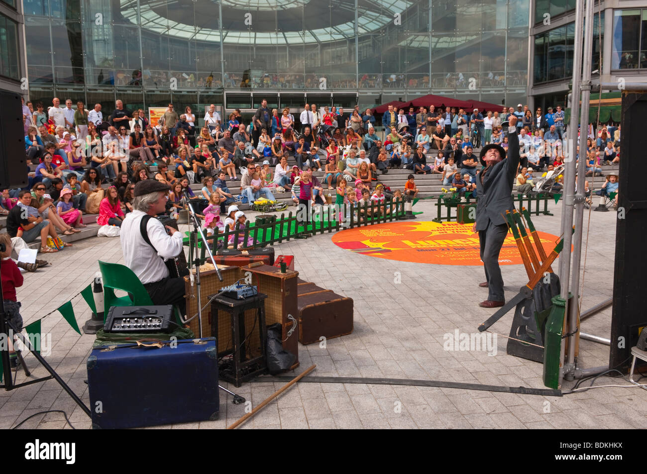 The Bash Street Company from Penzance in Cornwall doing a live show in Norwich Norfolk Uk - Stock Image
