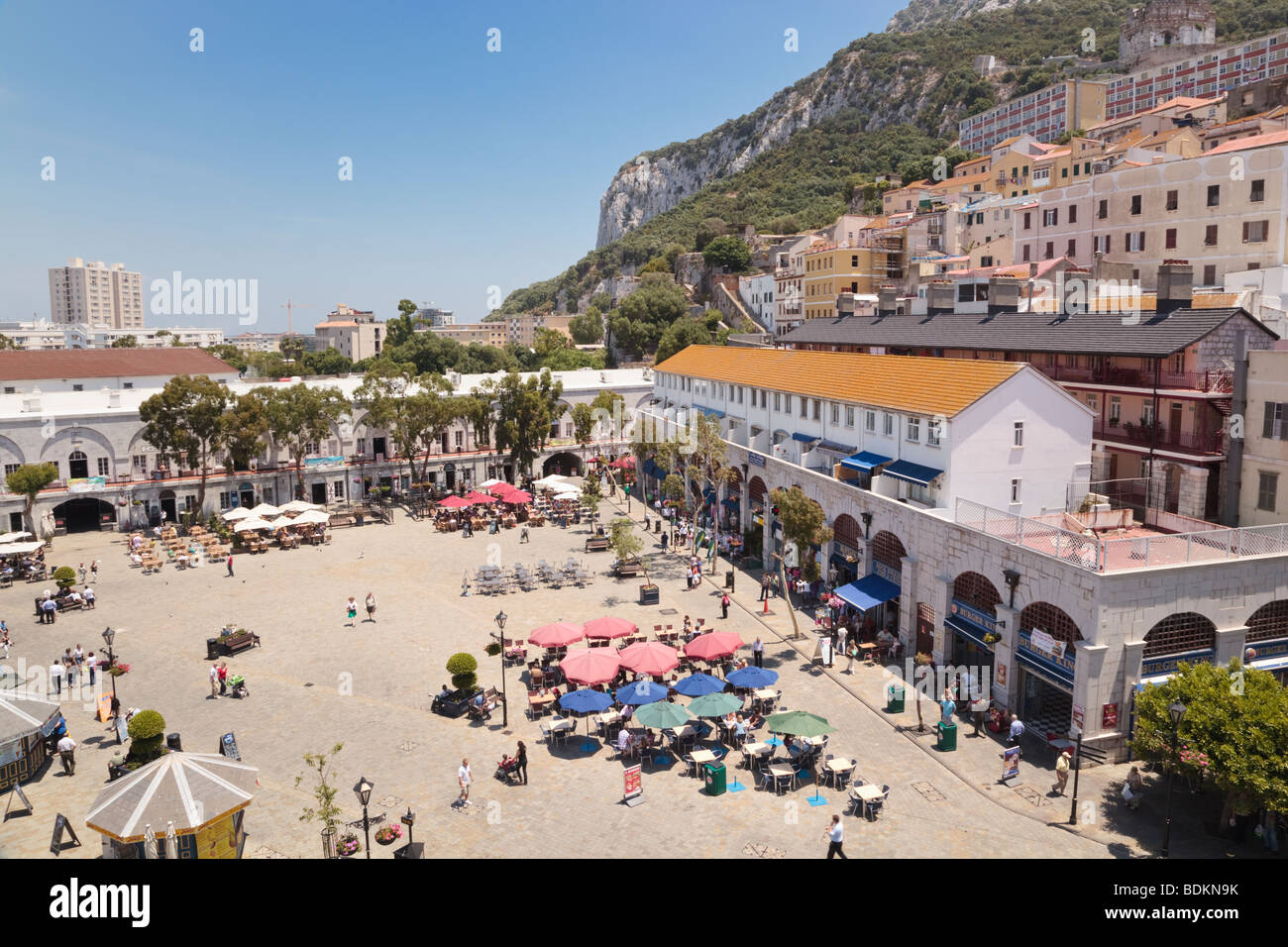Gibraltar.  Cafes and bars on Casemates Square. - Stock Image