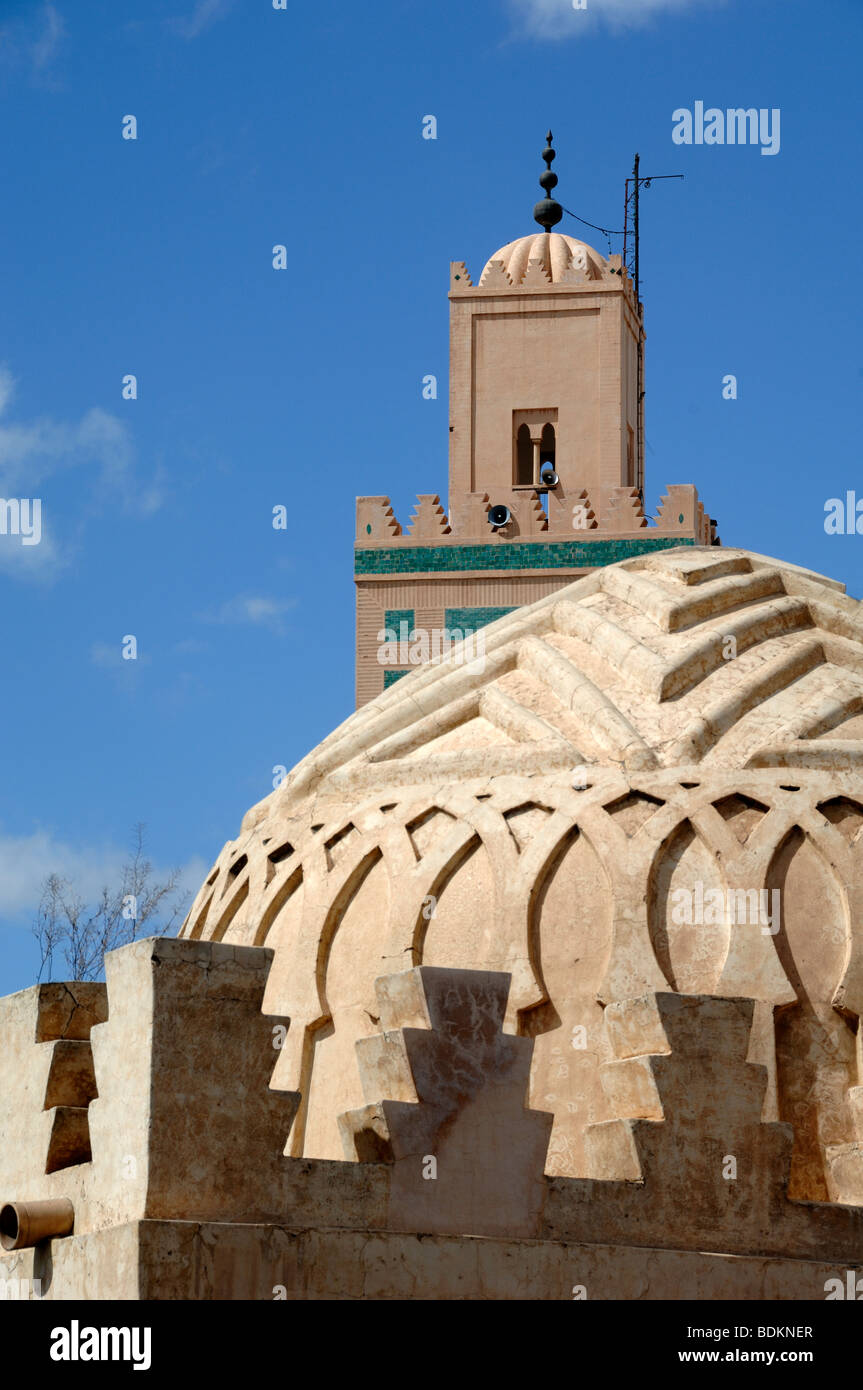Cupola or Dome of the Koubba Ba'aadiyn Almoravid Ablutions Fountain (c12) & Ali Ben Youssef Minaret & - Stock Image