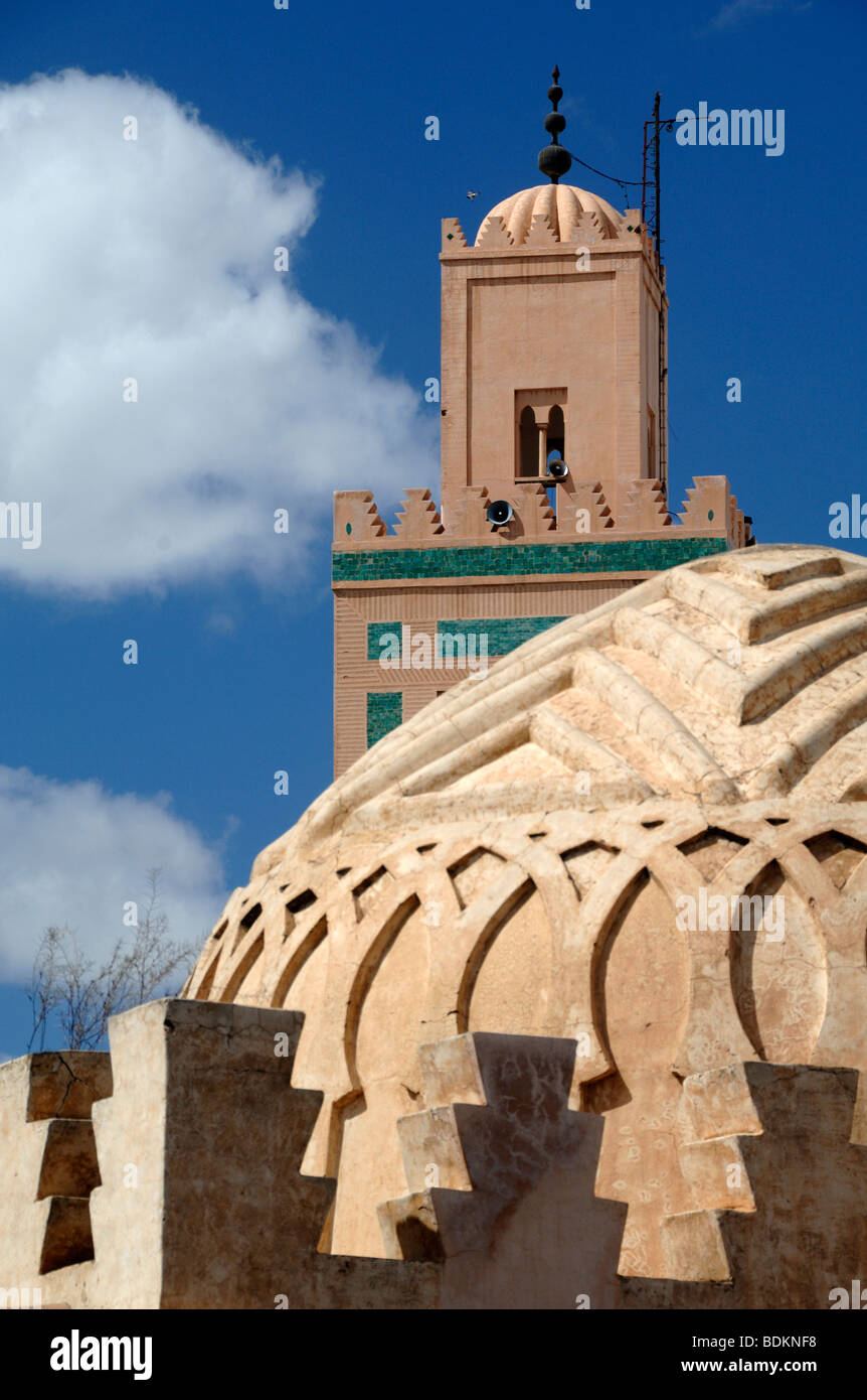 Dome of the Koubba Ba'adiyn Almoravid (c12th) Fountain& Ali Ben Youssef Minaret & Mosque, Marrakesh, - Stock Image