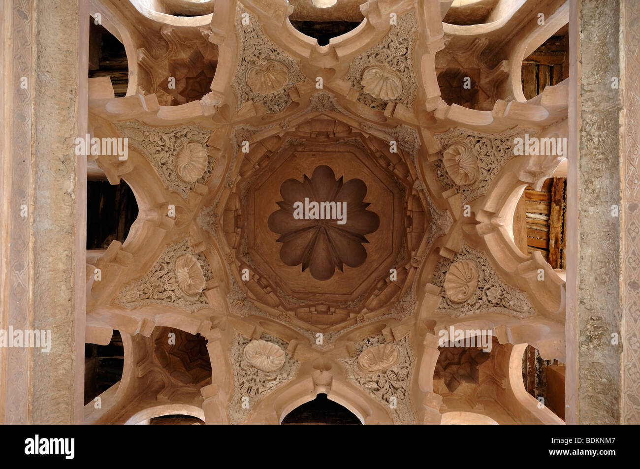Decorated Dome Ceiling with Carved Arabesques of the Koubba Ba'adiyn Almoravid (c12th), Ablutions Fountain, - Stock Image