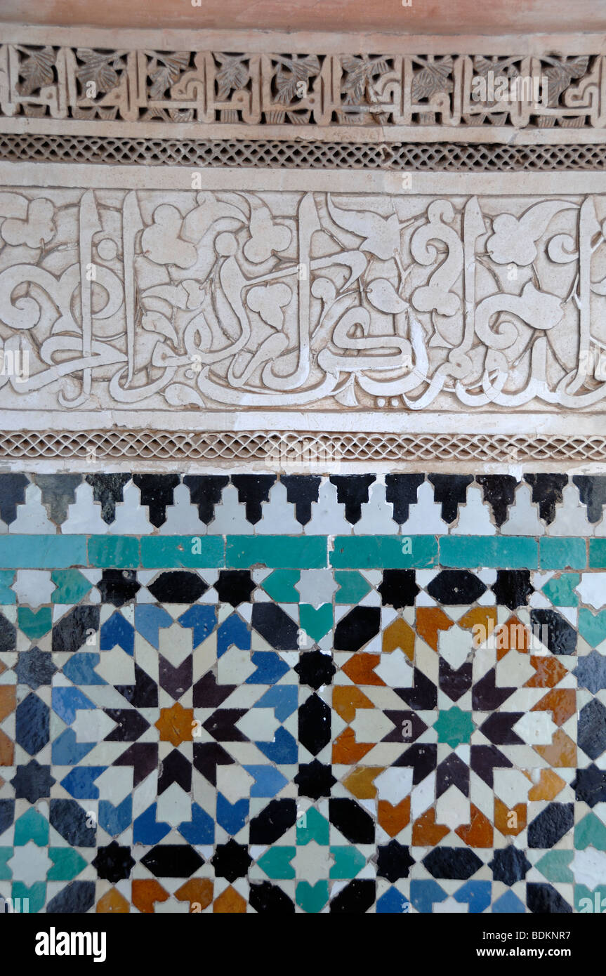 Arabic Script and Decorative Tiling or Tile Works at the Ali Ben ...